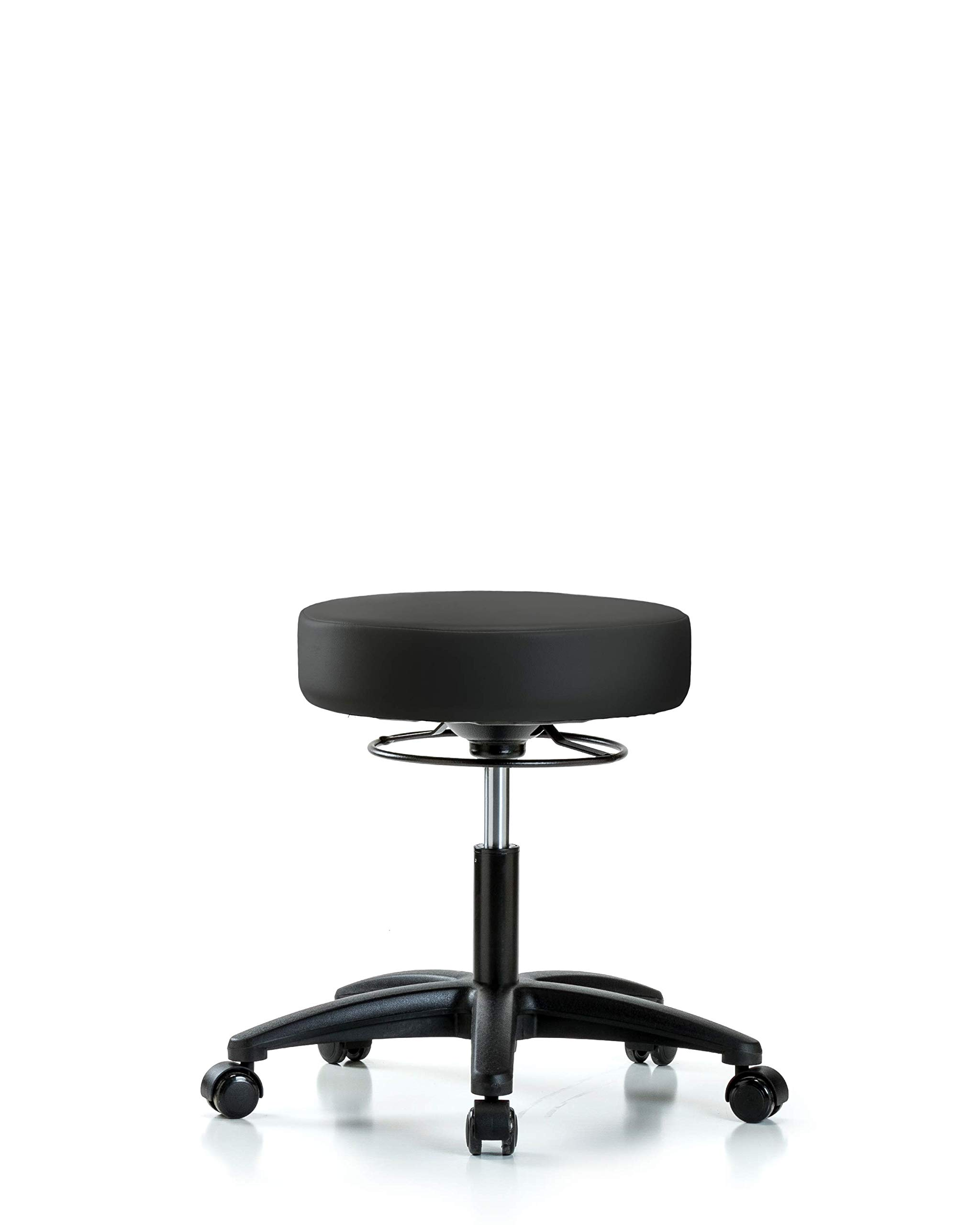 Adjustable Stool for Exam Rooms, Labs, and Dentists with Wheels - Desk Height, Black by LabTech Seating