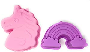 Unicorn Cake Pan Mold 3D And Rainbow Cake Pan: Silicone Unicorn Cake Mold Set for Girls Unicorn Birthday Party: Colors May Vary