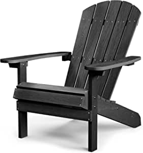 Adirondack Chairs Plastic Weather Resistant, Outdoor Chair 5 Steps Easy Installation, Adirondack Chair Like Real Wood, Widely Used in Patio, Fire Pit, Deck, Outside, Garden, Campfire Chairs(Black)