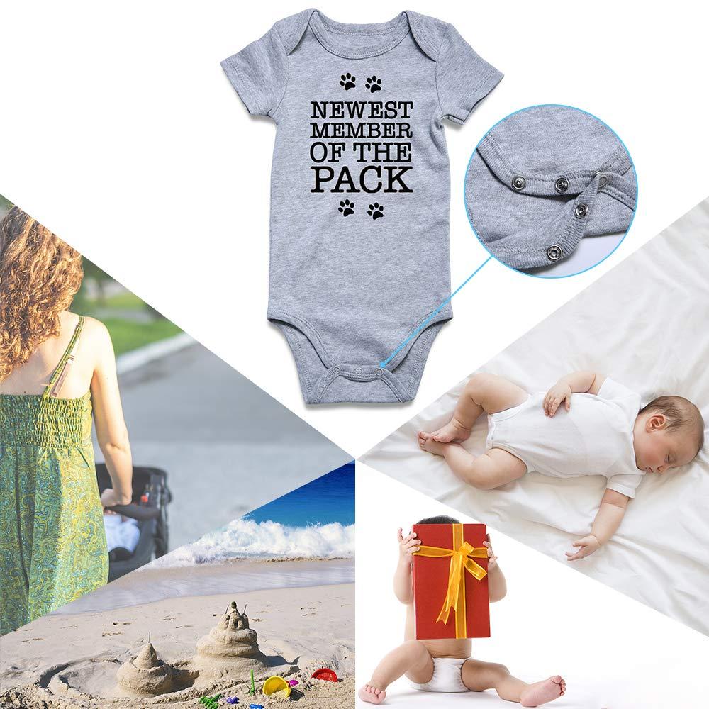 RAISEVERN Baby Boy Girl Onesie Bodysuit Infant Jumpsuit Newborn Announcement Romper Outfit for 0-12M
