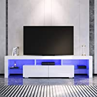 Elegant TV Units 2 Drawers Gloss White Entertainment Unit Stand with RGB LED Light 1800mm
