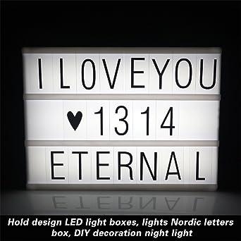USB LED caja de luz de tamaño A4 DIY cinemática 96 letras números ...