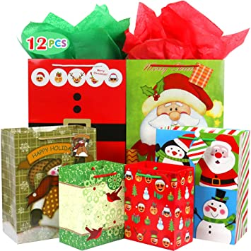 Christmas Gift Bags Bulk.Christmas Gift Bags Bulk Set Includes 4 Extra Large 4 Large 4 Medium With Handles Christmas Print Gift Bags