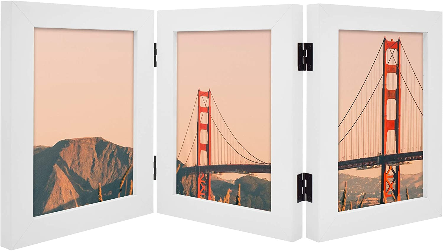 Frametory, Hinged Picture Frame with Glass Front Made to Display Three Pictures, Stands Vertically on Desktop or Table Top (White, 5x7 Triple)