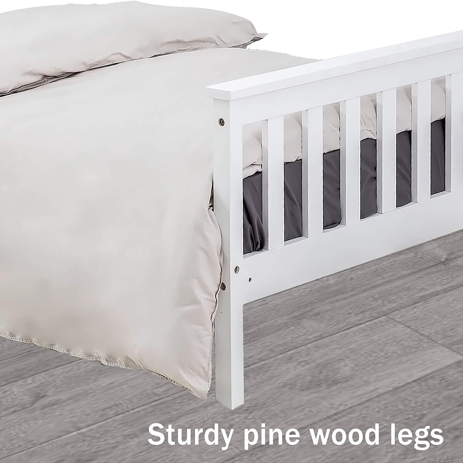 Teenagers 3FT White Kids DREAMO Single Bed Solid Wooden Bed Frame for Adults
