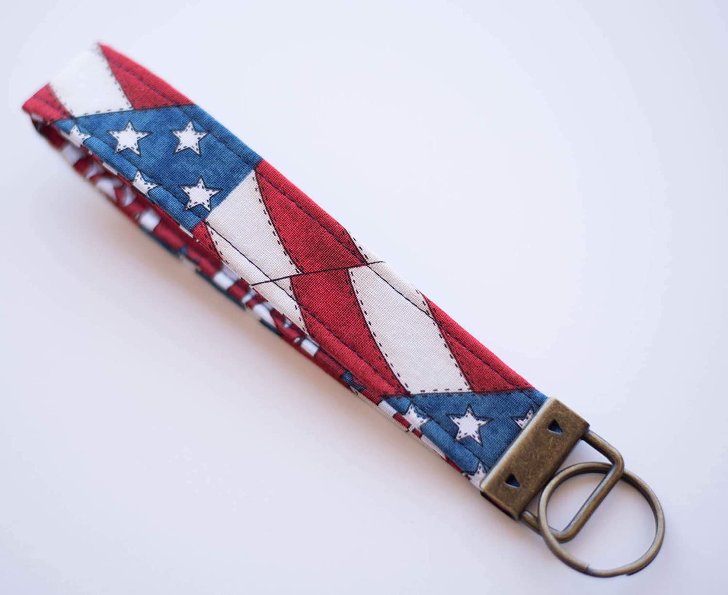Details about  /Patriotic Rustic American Flag Key Fob Wristlet Keychain