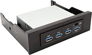 IO Crest 3.5 Inch Bay 4 Port Hub USB 3.0 with Fast Charging Port, 19 Pin USB Header and USB A Connector SY-HUB20134,Black
