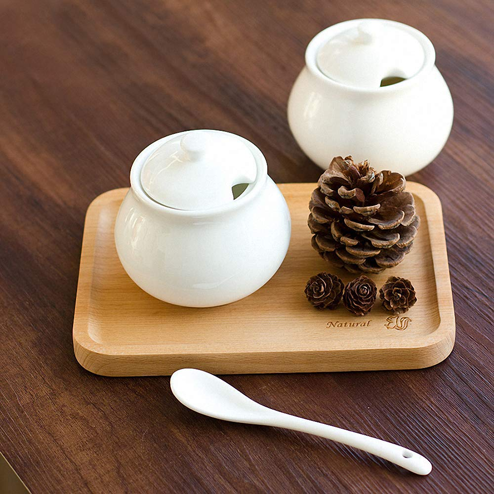 Classic Pure White Porcelain Sugar Bowl Set with Lid Spoon Sugar Dispenser Salt Pepper Storage Jar Pot Sugar Container Seasoning Pot Box Condiment Spice Racks Holder for Home Kitchen