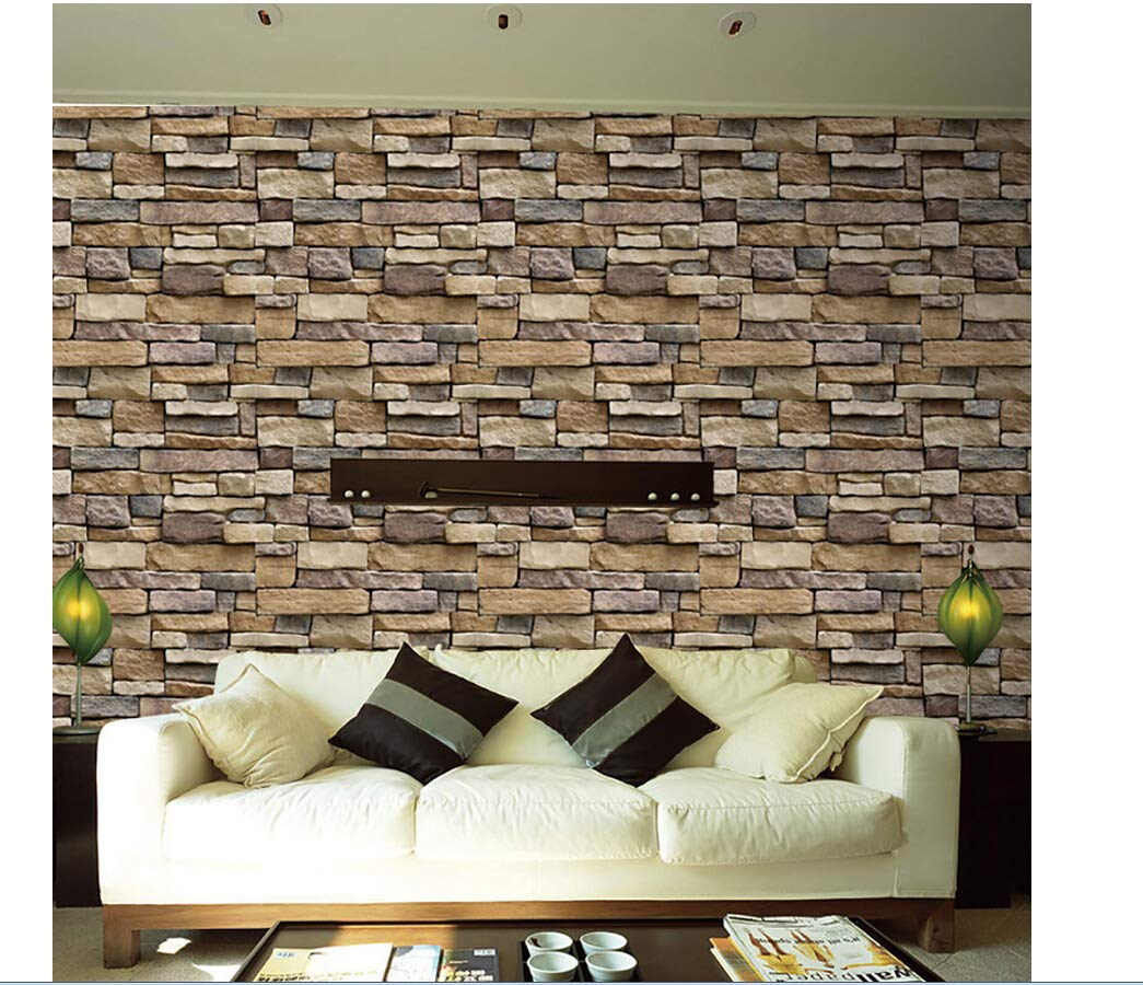 Brick Wallpaper, 3D Stone Textured, Removable and Waterproof for Home Design,Livingroom, Bedroom, Kitchen and Bathroom Decoration (Multicolor)