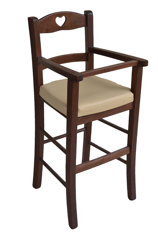 OKAFFAREFATTO MADDALONI Stuhl Stuhl für Kinderhochstuhl Luxus Walnuss dunkel mit Sitzfläche Kunstleder beige gepolstert montiert