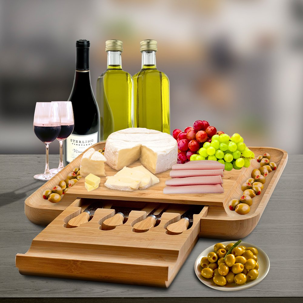 Bamboo Cheese Board with Cutlery Set, Wood Charcuterie Platter and Serving Meat Board with Slide-Out Drawer with 4 Stainless Steel Knife and Server Set - Perfect Gift Idea. By Bambusi by Bambüsi (Image #6)