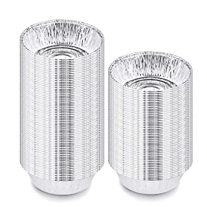 Kingrol 125 Pack 5 Inch Aluminum Foil Pans, Premium Disposable Baking Pans for Cooking, Heating, Storing, Prepping Food