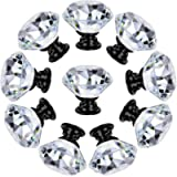 Dresser Drawer Cabinet Knobs 30mm Diamond Shaped Crystal Glass Knobs Pulls for Kitchen Wardrobe Cupboard (10 Pack, Black…