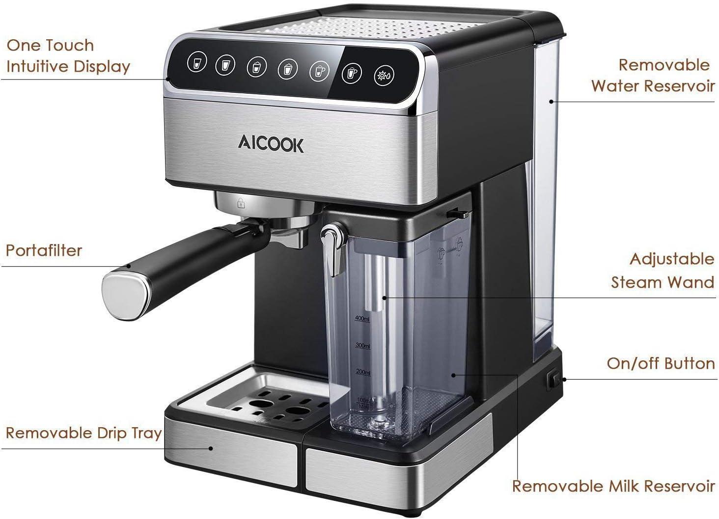 Aicook cafetera espresso, 15 bares presión, depósito agua extraíble 1,5l, panel lcd, sistema cappuccino, dispensador de café ajustable, limpieza automática, plateado ...