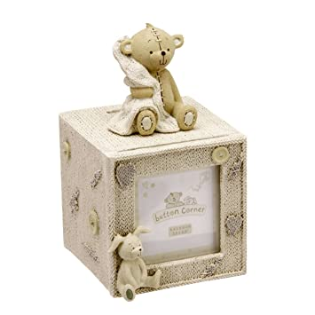 Christening Gifts - Button Corner Teddy Bear Money Box & Photo Frame: Amazon.co.uk: Kitchen & Home