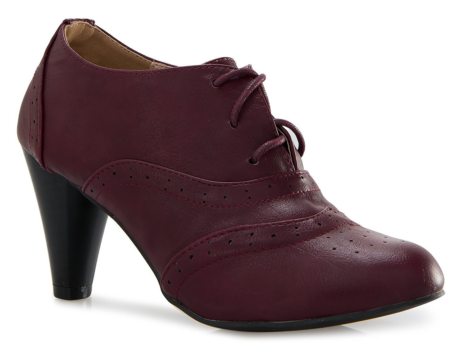 Women's Oxford Shoes Classic Fashion Chunky Heel Bootie Mid-Heel Lace Up Ankle Boots Mary Jane Pumps Burgundy 7