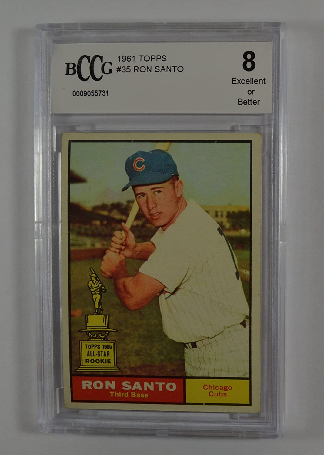 1961 topps #35 RON SANTO chicago cubs rookie card BGS BCCG 8 Graded Card