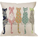 HGOD DESIGNS Colourful Creative Cared Cats Pillow Case,Cute Cats Back Cotton Linen Cushion Cover Square Standard Home Decorative for Men/Women/Kids 18x18 inch White Green Pink Orange