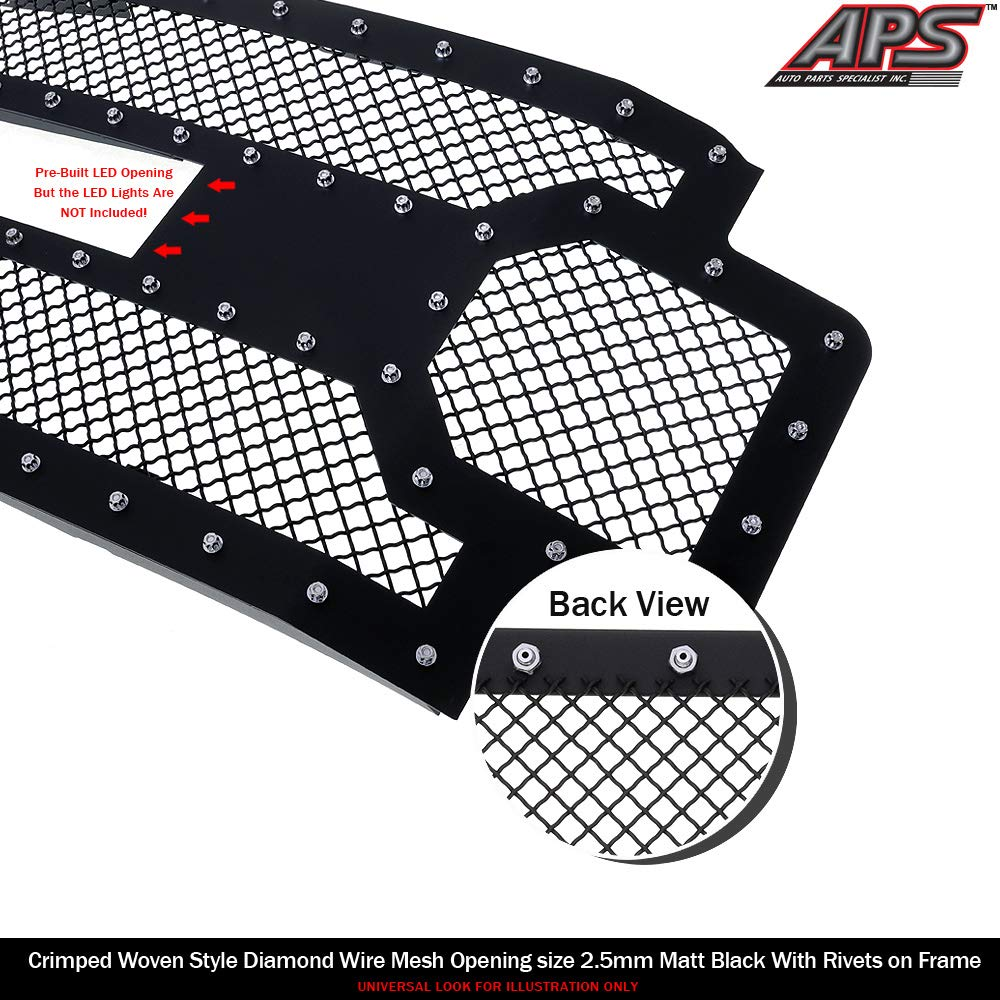 Amazon.com: APS Fits 2017-2019 Ford F-250/F-350/F-450/F-550 Without Front Camera Stainless Steel Black 1.8 mm Wire Rivets Mesh with 12