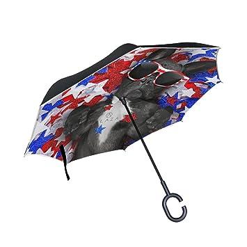 MyDaily Paraguas invertido de doble capa para coches, paraguas invertido, paraguas francés Bulldog Independencia