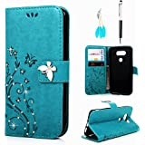 MOLLYCOOCLE LG G5 Wallet Case, PU Leather Bling Crystal Diamonds Butterfly Embossed Florals Kickstand Magnetic Flip Case Card