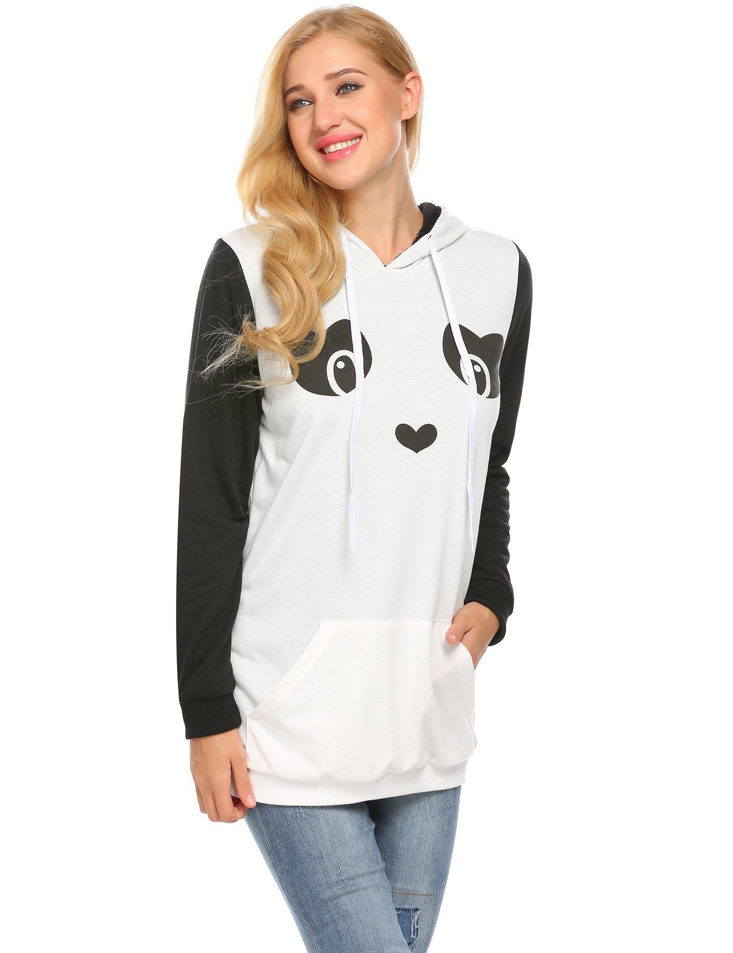 Zeagoo Women's Loose Fit Pullover Hoodie Sweatshirt with Kangaroo Pocket,White,M by Zeagoo (Image #3)