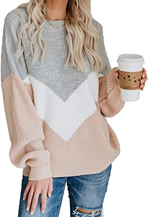 Womens Casual Knitted Shirts Lantern Sleeve Color Block Loose Fit Blouse Tops Pullover