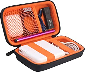 BOVKE PU Hard Travel Case for MacBook Air Pro Charger Apple MagSafe/MagSafe 2 USB-C Power Adapter - Extra Room for Apple Pencil, Air Pods, Magic Mouse2, USB Stick, USB C Hub, SD Card, Cables, Black