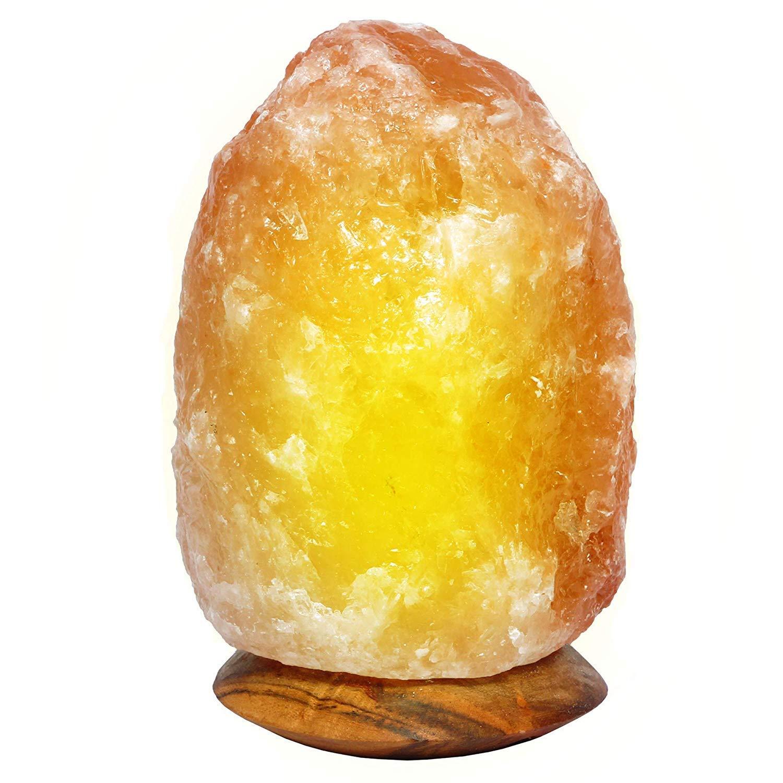 L/ámpara de sal de roca Himalayan 100/% alta calidad Hyallayan en forma natural con estilo de forma de Neem madera V