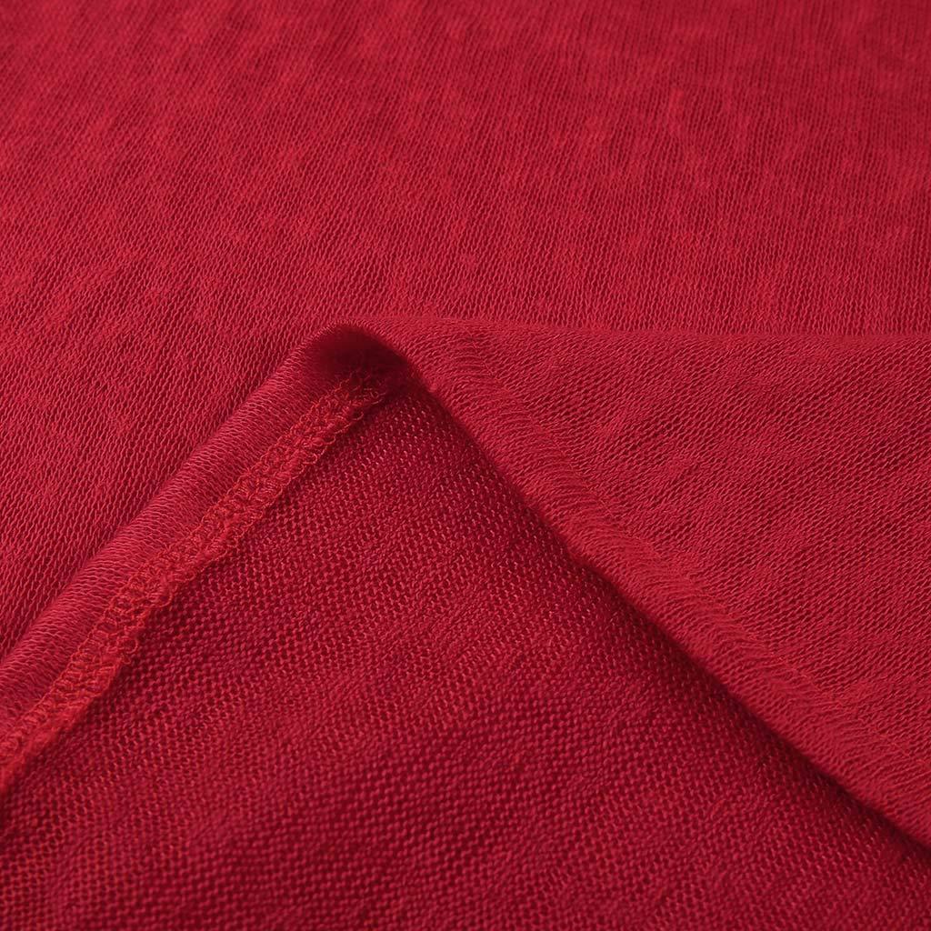 Red,S AxiBa-Women Long Sleeve Flowy Tunic Pockets Dress Plain Swing T-Shirt Dress