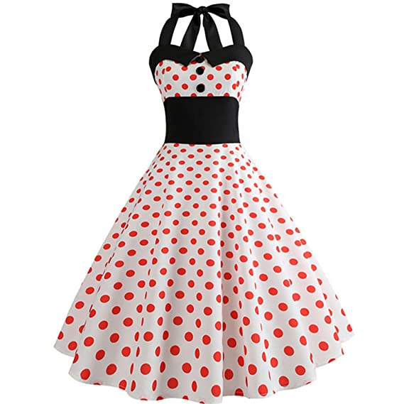 Vintage Dress Summer Women Robe Rockabilly Swing Pinup Vestidos Party Dresses at Amazon Womens Clothing store: