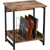 IRONCK Industrial Small End Table, Night Stand Side Table with 2-Tier Storage Shelf, Sturdy and Easy Assembly, Wood Look Acce
