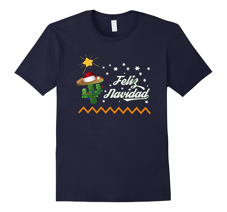 Feliz Navidad Cactus Sombrero T-Shirt Mexican Christmas Gift-FL