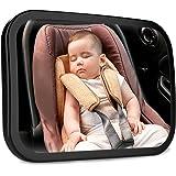 車用 ベビーミラー ieleacc バックシートベビーカーミラー 大判(サイズ:245*165mm) ABS材料飛散防止 広角凸面鏡 360角度調整 後ろ向かずに子供の安全を確認 車用 インサイトミラー