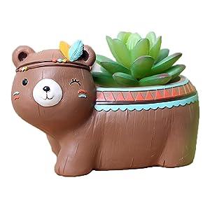 Youfui Home Decor Pot, Animal Succulent Planter Flowerpot for Home Office Desk Decoration (Brown Bear)
