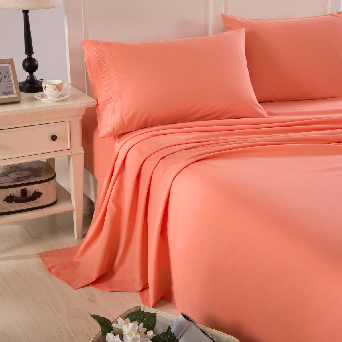 Honeymoon Embroidered 1800 Brushed Microfiber Ultra Soft Queen Bed Sheet Set, Coral