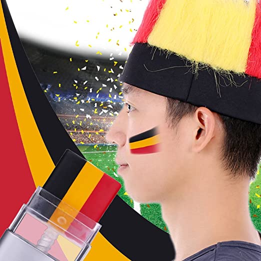 Anself – 2016 Euro Cup bandera de ventiladores de pintura para la cara deportes cara pintura 3 en 1 Crema pintura alemana/Francia/Italia/España/Bélgica/Países bajos: Amazon.es: Jardín