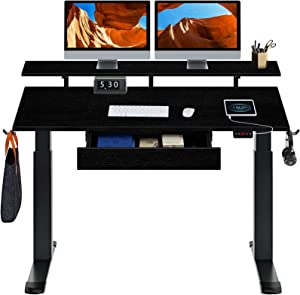 Rolanstar Dual Motor Adjustable Height Desk with Drawer 55