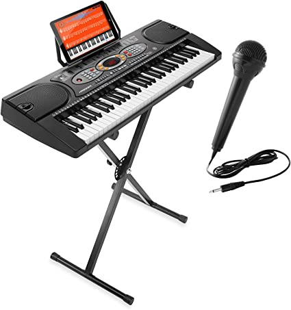 Microphone /& Sticker Set Hamzer 61-Key Electronic Keyboard Portable Digital Music Piano with X Stand