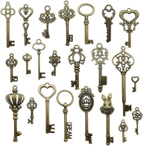 Antique Iron Skeleton Keys Lot of 25 Steampunk