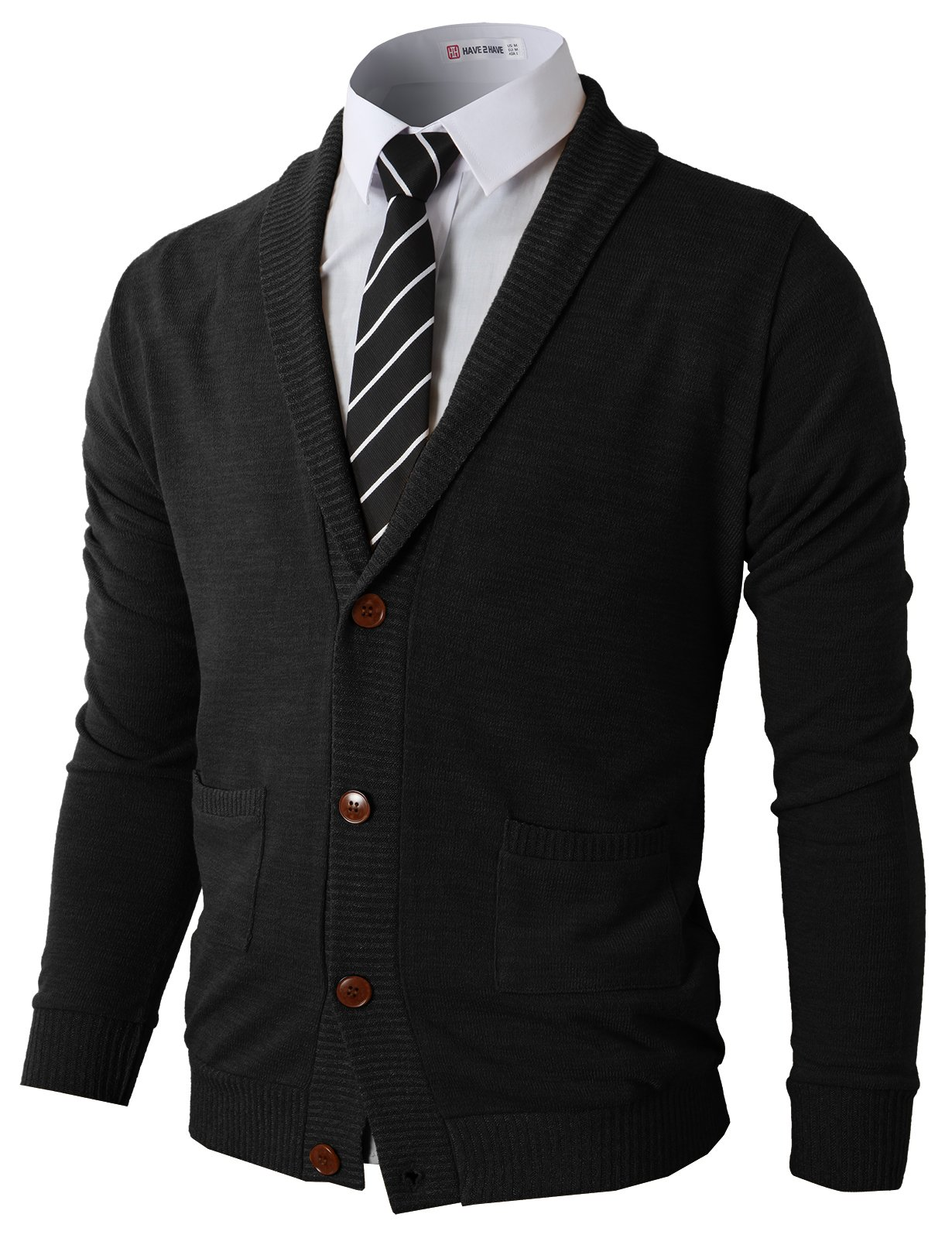 H2H Mens Slim Fit V-Neck Button Up Cardigan Sweater Black US 2XL/Asia 3XL (CMOCAL07) by H2H