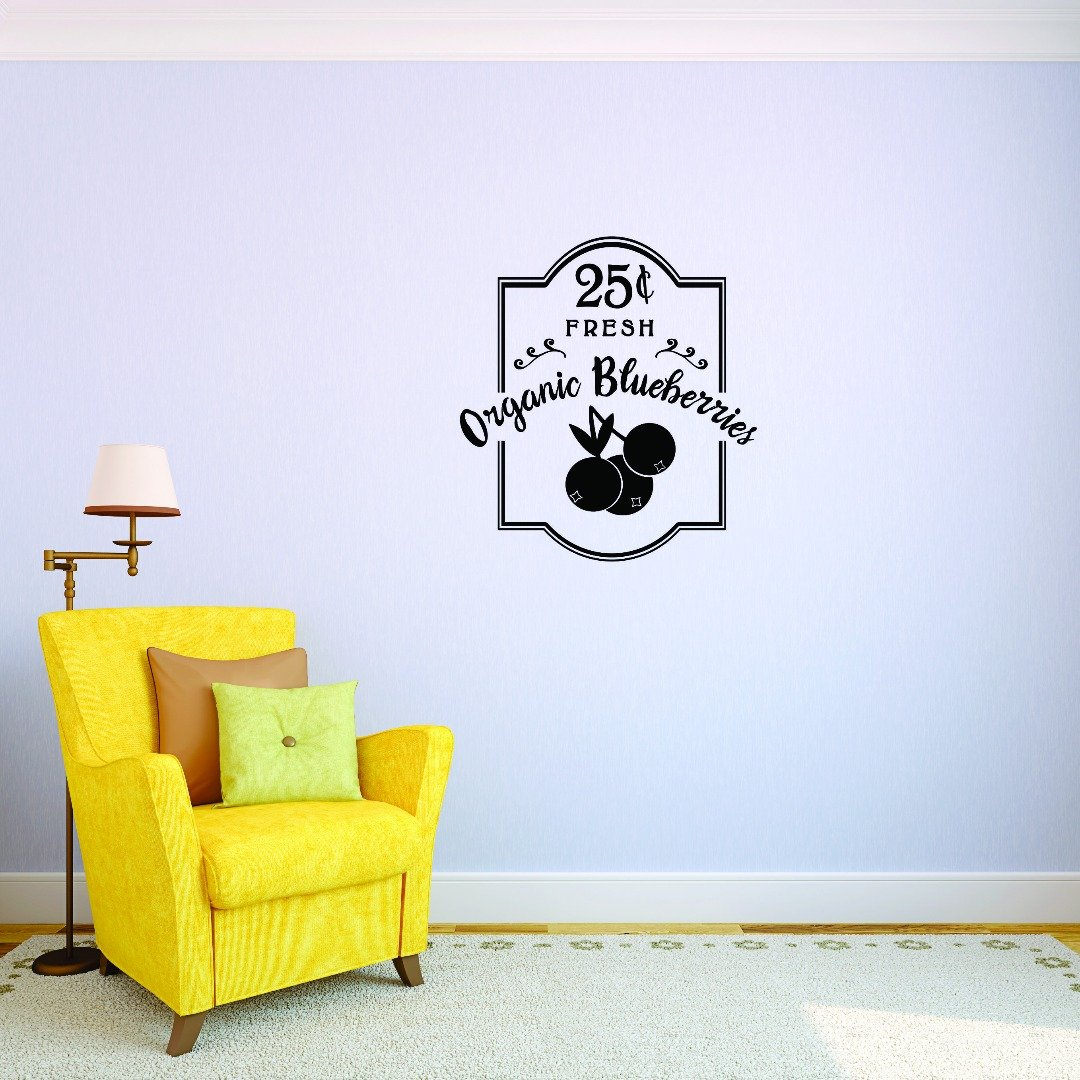Design with Vinyl 2 Jer 1750 2 Hot New Decals Organic Blueberries Wall Art Size 14 Inches x 28 Inches Color 14 x 28 Black