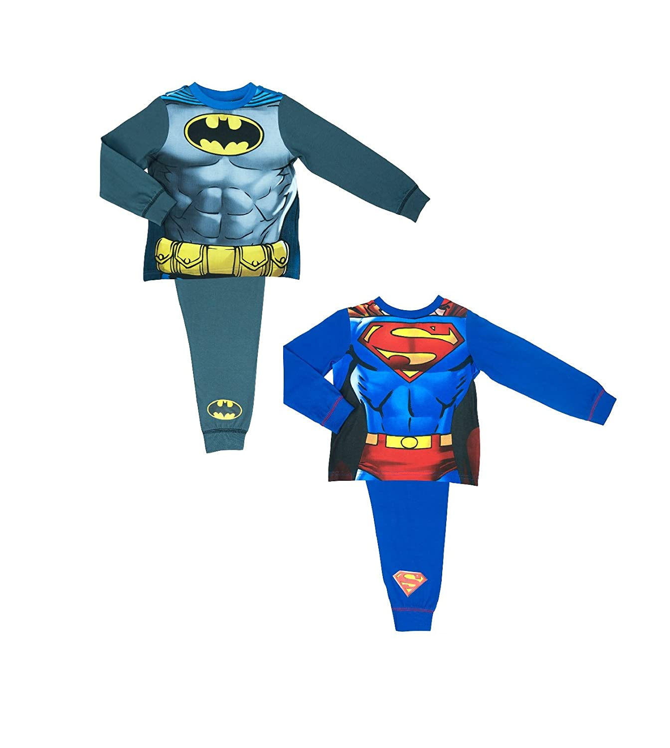 DC Comics 2 Pack Boys Batman e Superman Novelty Pyjamas 2-8 Anni