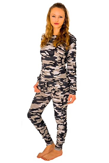 a699c6f2fb35 Womens Co-ord Stretch Army Camouflage Print Jogging Suit Set Ladies Joggers  Pants Sweater Tracksuit: Amazon.co.uk: Clothing