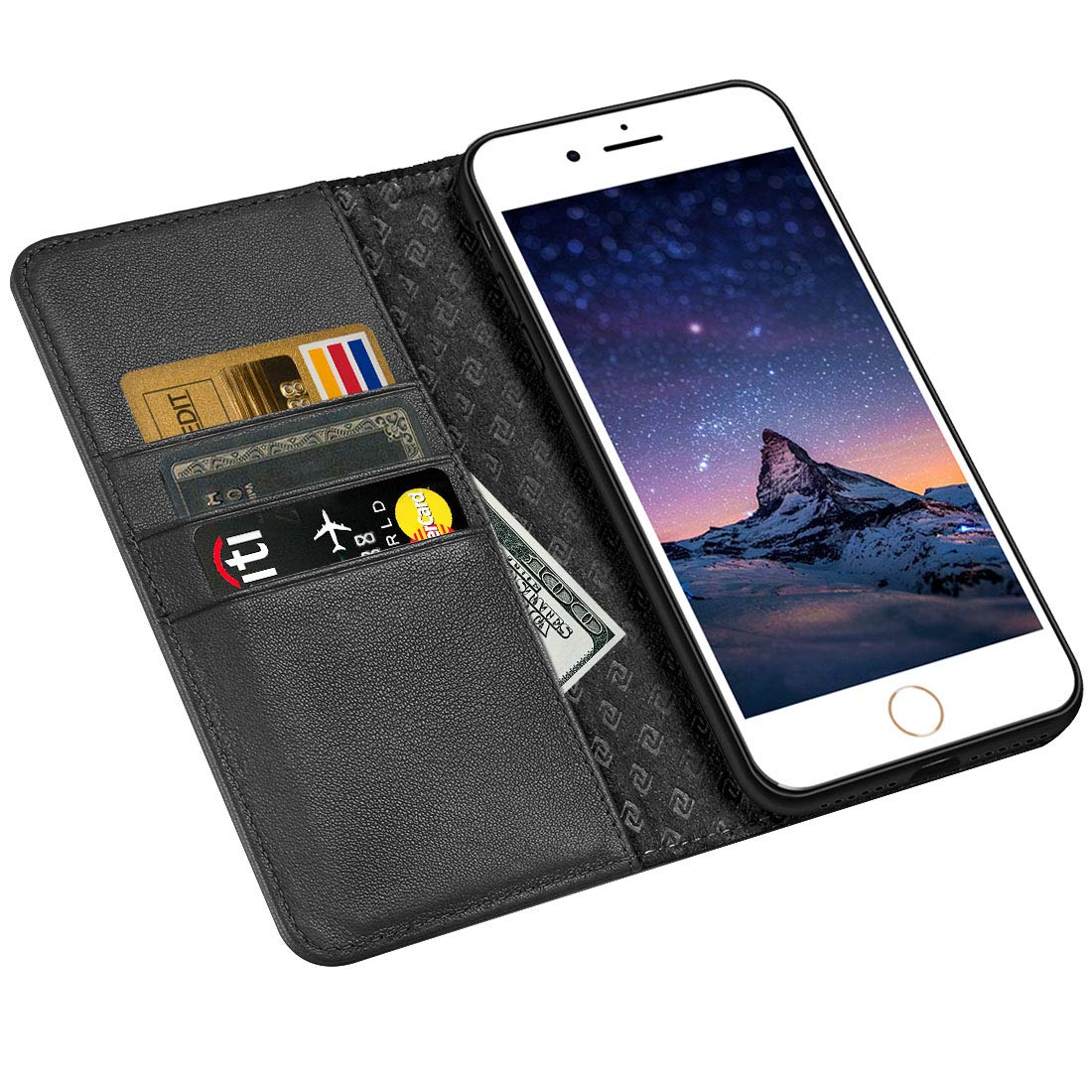 iPhone 6S Case iPhone 6 case ZOVER Genuine Leather Case Flip Folio Book Case Wallet Cover with Kickstand Feature Card Slots & ID Holder and Magnetic Closure for iPhone 6 and iPhone 6S Black