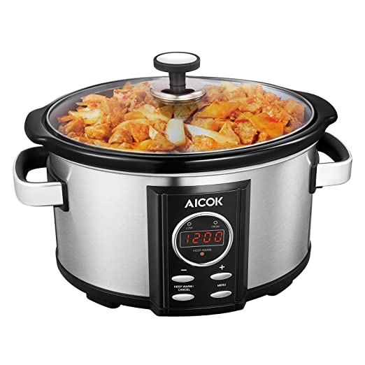 Slow Cooker Aicok Crock Pot 6.5 Quart Slow Cooker Pot, Digital Programmable and Hour Timer, Removable Ceramic Cooking Pot, Stainless Steel