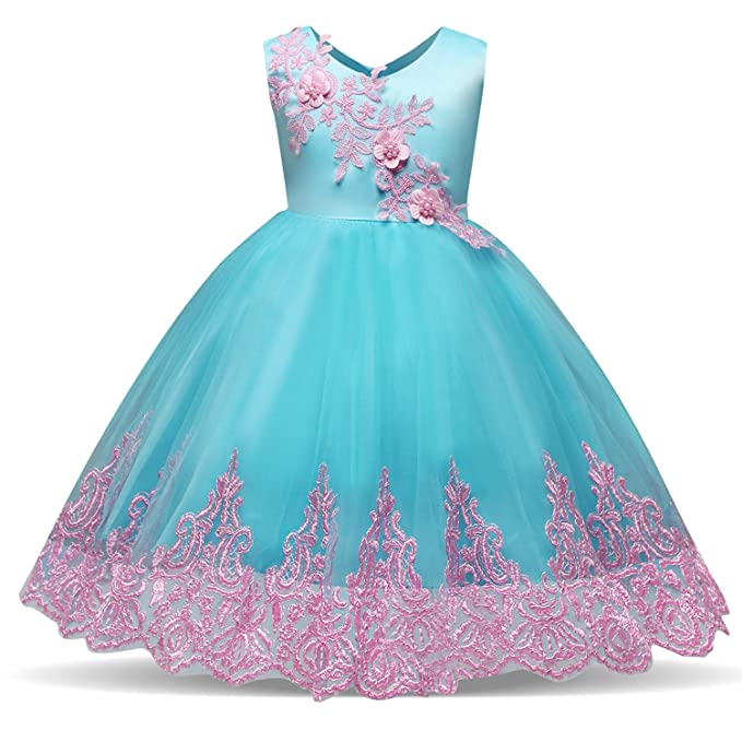 284da1f2c49 NNJXD Toddler Embroidered Tulle Chiffon Flower Girls Wedding Birthday Party  Princess Formal Dresses Size (90