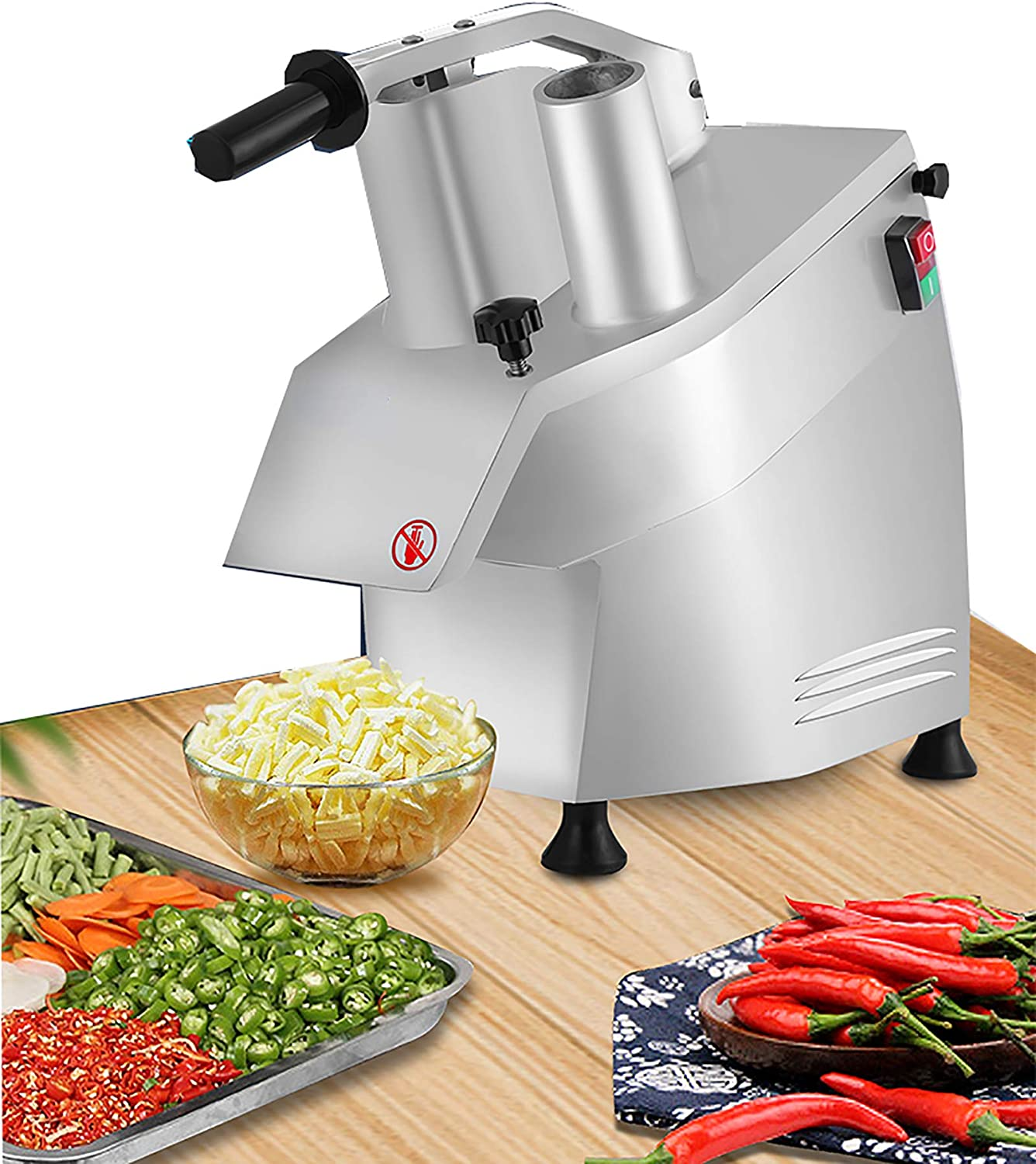 NEWTRY 550W Commercial Electric Vegetable Processor Cutter Grater Machine Food Shredder/Slicer Stainless Steel for Fruit Potato Ginger Garlic Cheese 50kg/h