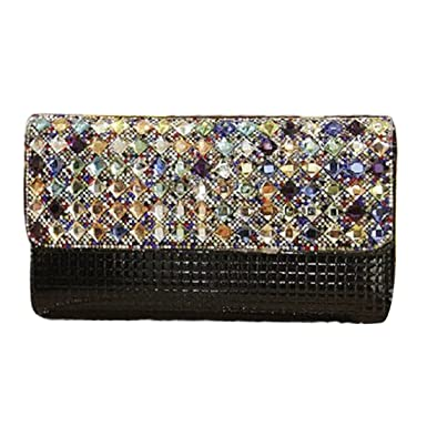 3980dfde1ea76 Womens Sparkly Clutch Bag Rhinestone Beaded Evening Handbag Glitter  Envelope Purse for Wedding Bridal Prom Party (Black)  Amazon.co.uk  Clothing