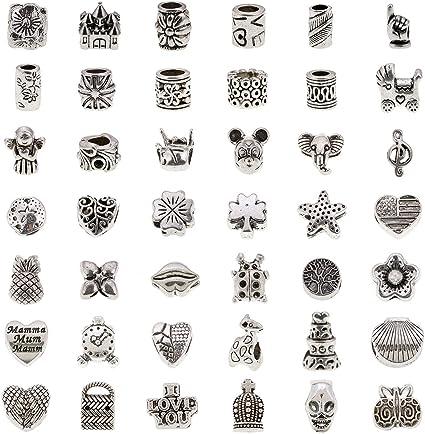 Bundle Monster 40 PC Antique Silver Plated Oxidized Metal Beads Charms Set  Mix Lot - Compatible with Pandora Biagi Troll Chamilia Bracelets w/
